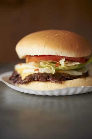 broiling: Grilled Cheeseburger with Lettuce and Tomato on a Paper Plate