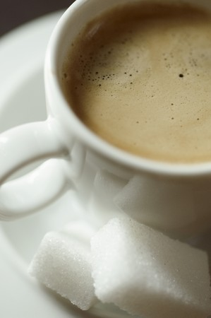 sugar cubes: Espresso in a White Cup with Sugar Cubes
