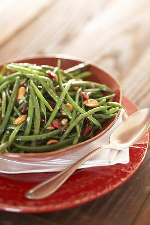 side order: Serving Bowl of Green Beans with Marcona Almonds and Cranberries; Spoon