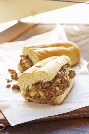 Steak and Cheese Sub on Butchers Paper LANG_EVOIMAGES