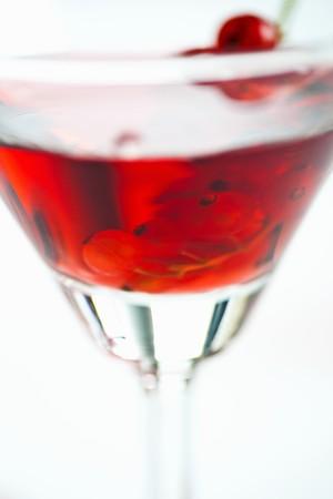 redcurrant: A glass of redcurrant liqueur (close-up)