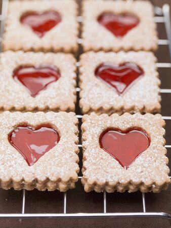 jam biscuits: Biscotti di marmellata con zucchero a velo su una gratella LANG_EVOIMAGES
