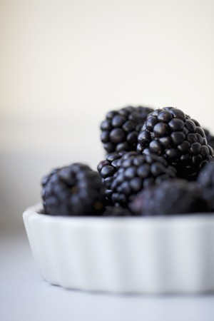 brambleberries: Fresh Blackberries in a White Tart Dish