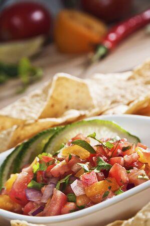 tortilla chips: Bowl of Fresh Salsa with Tortilla Chips