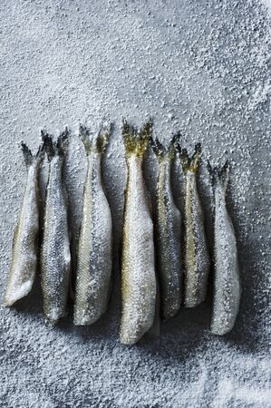 fresh water smelt: Fresh Smelt Sprinkled with Sea Salt