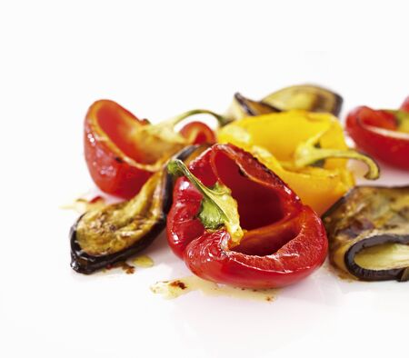 bell peppers: Roasted bell peppers and eggplant