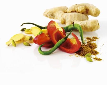 curry powder: Ginger, pepper, chili pepper, curry powder