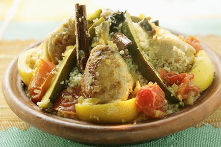 couscous: Couscous with chicken, courgettes, tomatoes, lemons & cinnamon