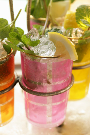 soda pops: Lemonade with ice cubes and fresh mint