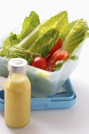 apium graveolens: Salad in a lunchbox; salad dressing in bottle