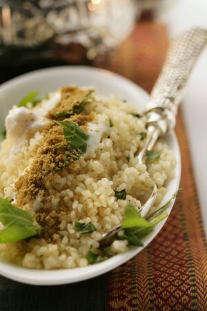side order: Couscous with yoghurt, mint and cinnamon