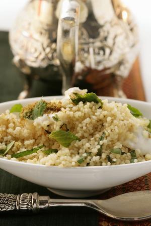 couscous: Couscous with yoghurt, mint and cinnamon