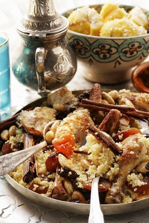 made in morocco: Couscous with chicken, dried fruit, almonds and cinnamon