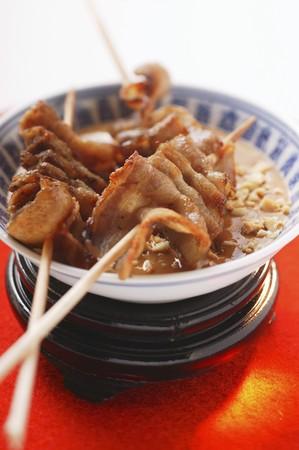 peanut sauce: Belly pork on sticks with peanut sauce (Japan)