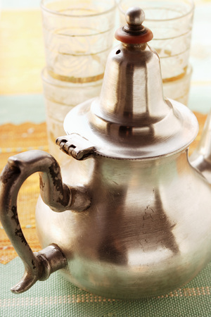 teaset: Teapot and tea glasses from Morocco