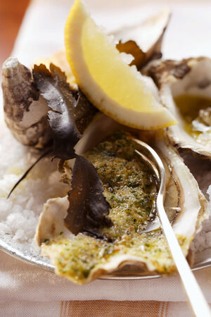 lemon wedge: Baked oysters with herb breadcrumbs and lemon wedge