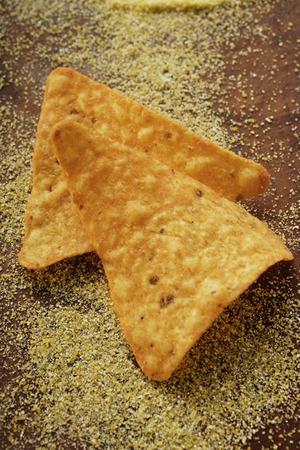 tortilla chips: Two tortilla chips LANG_EVOIMAGES