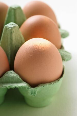 brownness: Brown eggs in green egg box