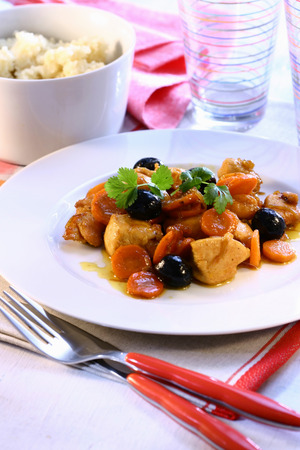 couscous: Chicken with carrots and olives; couscous