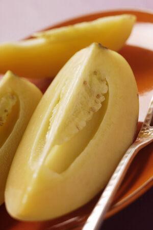 pepino: Wedges of pepino melon on plate