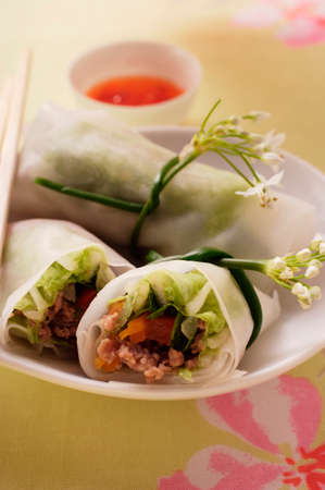 fingerfood: Filled rice paper rolls from Vietnam LANG_EVOIMAGES