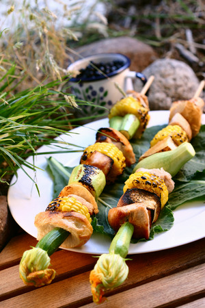 in the open air: Grilled turkey kebabs with sweetcorn & vegetables in open air LANG_EVOIMAGES