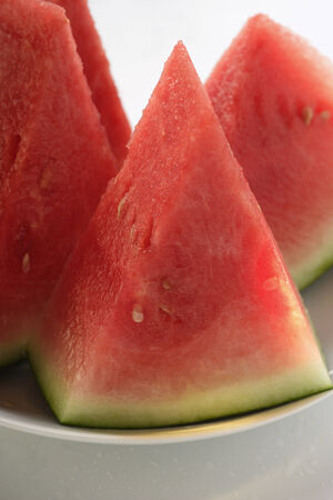 redness: Watermelon wedges on plate