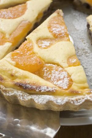 sucre glace: Tarte aux abricots avec du sucre glace, pi�ces d�coup�es LANG_EVOIMAGES