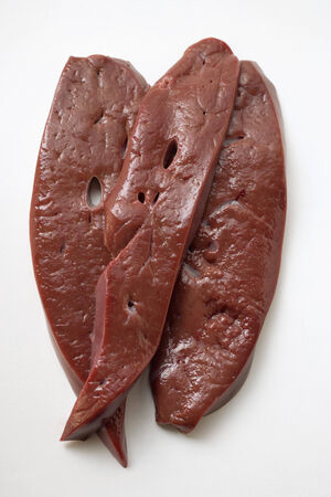 innards: Three slices of calfs liver