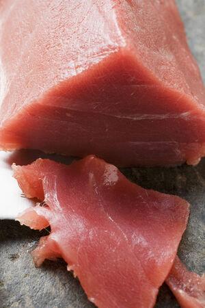 cut off: Tuna fillet, a piece cut off