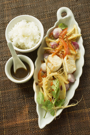 fish fillet: Fish fillet with bamboo, peppers, soy sauce and rice