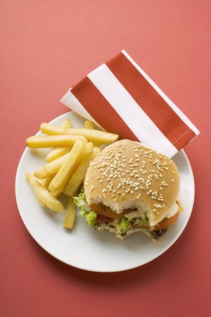 all american burger: Cheeseburger, bites taken, with chips LANG_EVOIMAGES