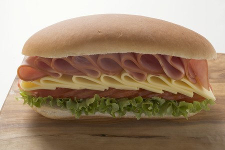hoagie: Ham, cheese, tomato and lettuce sandwich