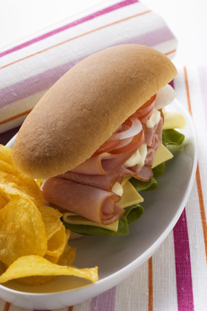 hero sandwich: Ham, cheese, tomato and onion in sub sandwich with crisps LANG_EVOIMAGES