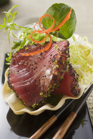 tunafish: Raw tuna fillet with poppy seeds, with salad garnish LANG_EVOIMAGES