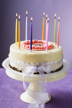 entire: Birthday cake with burning candles LANG_EVOIMAGES