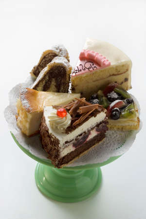 cakestand: A selection of pieces of cake on cake stand