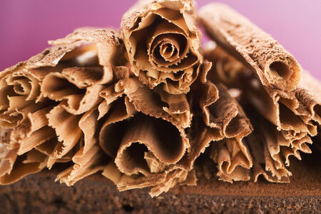 chocolate curls: Chocolate curls on chocolate cake