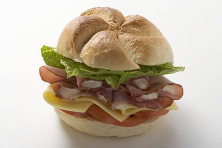 bread roll: Ham, cheese, tomato and lettuce in a bread roll