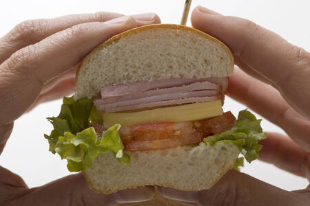 hoagie: Hands holding ham and cheese sub sandwich LANG_EVOIMAGES