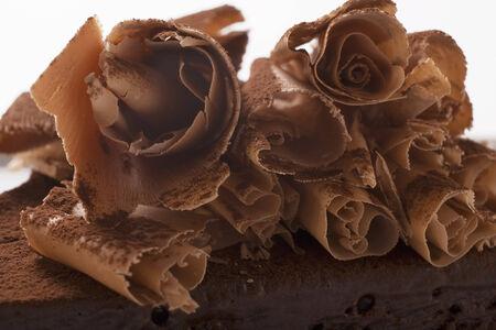 curls: Chocolate curls on chocolate cake