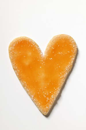 sugared: Glazed and sugared heart-shaped biscuit