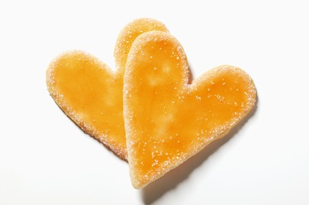 sugared: Two glazed and sugared heart-shaped biscuits