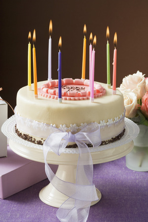 ignited: Birthday cake with burning candles LANG_EVOIMAGES