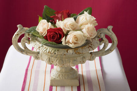 stone bowl: Roses in romantic stone bowl LANG_EVOIMAGES