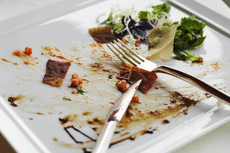 leftovers: Scraps of food on a plate with cutlery