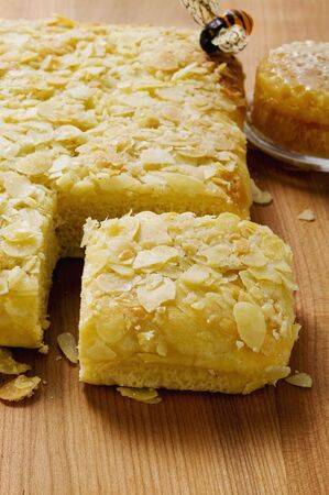flaked: Bee sting cake with flaked almonds, bee and honeycomb