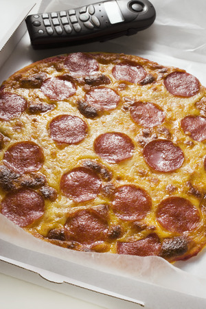 pizza box: Whole salami and cheese pizza in pizza box with telephone