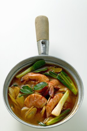 spring onions: Shrimp soup with spring onions (Thailand)