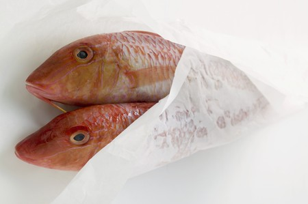 goatfish: Fresh red mullet in wrapping paper